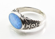 Flat Oval-Shaped Light Blue Lab Opal Ring