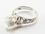 Pronged Round-Shaped White Lab Created Opal Ring with Filigree