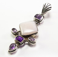 Pink Moonstone and Amethyst Pendant