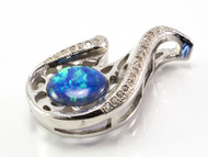 Curved Blue Lab Opal and Micro Pave CZ Pendant