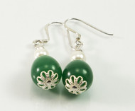 Dangling Jade and Pearl Balinese Earrings