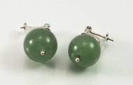 Round Jade Ball and Filigree Balinese Earrings