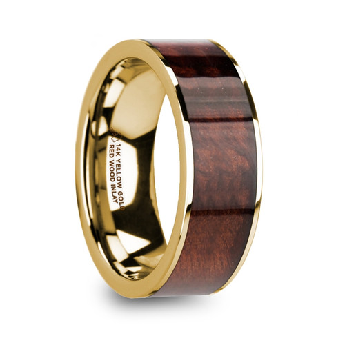 Phorbas Men's 14k Yellow Gold Wedding Band with Red Wood Inlay