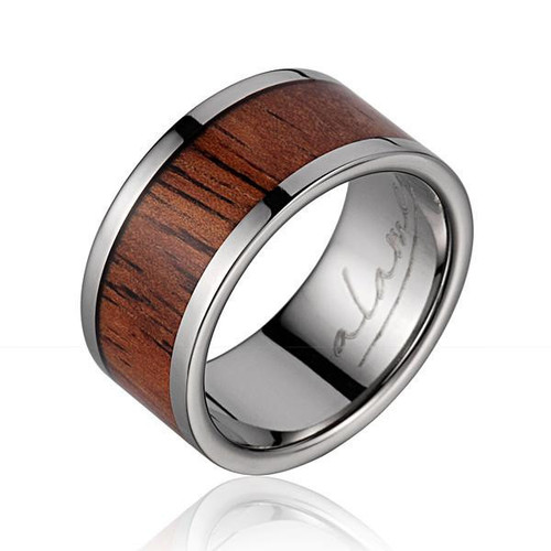 Koa Wood Inlaid Men's Titanium Wedding Band