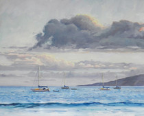 BOATS AT LAHAINA [Original Painting]