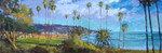 """In the Fall of 2013 Norm came to Laguna Beach, California to experience the long Fall shadows and discovered this tranquil perspective in his own Impressionist Style.  Norm was so inspired he started painting a series of """"Seaside"""" compositions, this painting is part of that series.  Norm's color palette really comes alive in the Southern California light, the image is absolutely stunning.  The painting is framed in a spectacular way that really accentuate the composition which makes a wonderful presentation in any décor.  Each of Norm Daniel's Limited Edition Giclees are imaged onto 415gms Archival Canvas with Archival Inks.   The piece is un-stretched and is shipped rolled in a tube."""