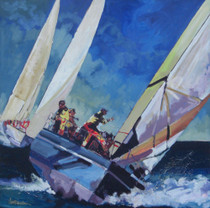 Daniels was inspired to paint this exhilarating composition from when the Americas Cup was held in San Diego, California.  Close Reach is another beautiful impressionist painting of Daniels unique color palette.  Daniels paints each composition with his own interpretation of reality as he sees the world and for the viewer to grasp that vision he has created with his dramatic palette knife and brush stroke techniques.  Each of Daniel's Tru-Giclee Limited Editions are imaged onto archival canvas utilizing the Giclee imaging process using archival inks.  The piece is un-stretched and is shipped rolled in a tube.