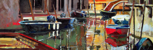 In the Summer of 2009 Daniels was inspired to paint Venice Italy and discovered this tranquil perspective so he captured this Original in Oil on Canvas in his own Impressionist Style.  Daniels was so inspired by the canals & architecture he started painting a series of water oriented compositions, this is the third painting and part of a 10 painting series.  Parcheggiio de Barca is another beautiful impressionist painting of Daniels unique color palette.  Daniels paints each composition with his own interpretation of reality as he sees the world and for the viewer to grasp that vision he has created with his dramatic palette knife and brush stroke techniques.  Each of Daniel's Tru-Giclee Limited Editions are imaged onto archival canvas utilizing the Giclee imaging process using archival inks.  The piece is un-stretched and is shipped rolled in a tube.