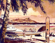 Daniels was inspired by an old travel log brochure of yesteryear (former times) of Waikiki Beach from the 40's and 50's before all of the high rise resorts were built.  Waikiki Beach is another beautiful impressionist painting of Daniels unique color palette.  Daniels paints each composition with his own interpretation of reality as he sees the world and for the viewer to grasp that vision he has created with his dramatic palette knife and brush stroke techniques.  Each of Daniel's Tru-Giclee Limited Editions are imaged onto archival canvas utilizing the Giclee imaging process using archival inks.  The piece is un-stretched and is shipped rolled in a tube.