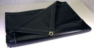 10' X 14' Blk/Blk 16 oz. Neoprene Coated Nylon Tarp W/Grommets 24'' Apart