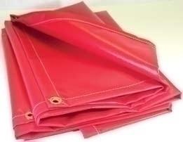 14' X 25' 13 oz.. Red Vinyl Flame Retardant Laminated Tarp