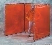 3X4X3 X 5'H Orange Weldview 3 Panel Welding Screen Complete Unit 5' X 10' Curtain