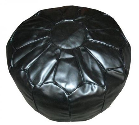 Black Pouffe, Moroccan Black Leather Pouffe
