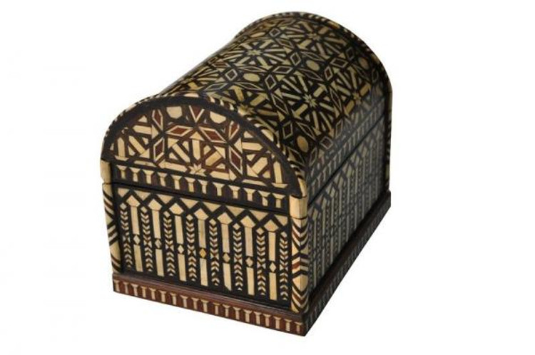 Mother of Pearl Inlaid Mosaic Wood Jewelry Box