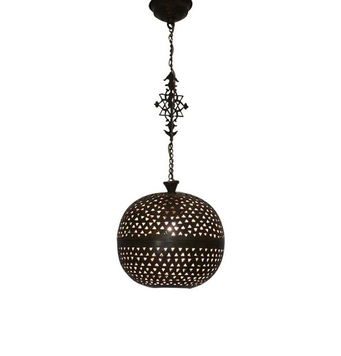 Moroccan Brass Pendant Light Lamp-Oxidized