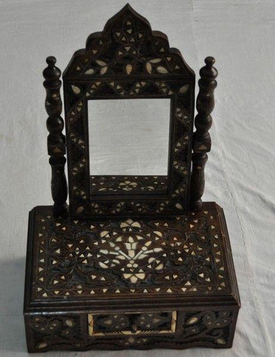 Syrian Middle Eastern Mother of Pearl Wood Mirror Frame - Dresser