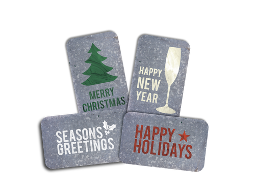 Each pack will include four variations of our metal Christmas cards either in the pictured colors or all in one color.