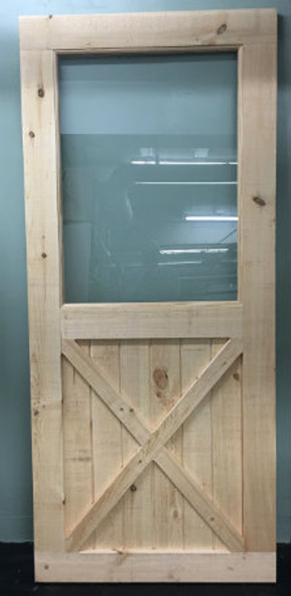 Bottom X-Brace Barn Door with Built in Window