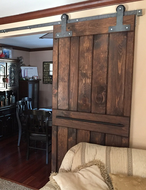 Installed T-strap Barn Door Hardware