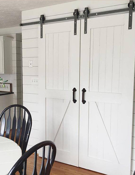 8ft double sliding barn door hardware kit for Single sliding barn door