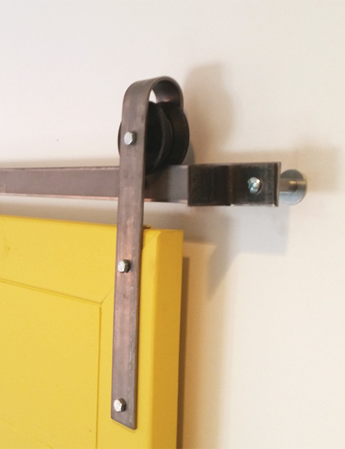 Up-close Installed Hanger Barn Door Hardware