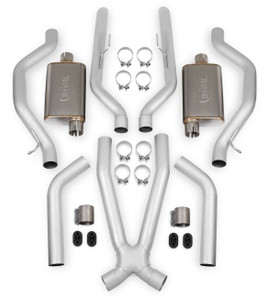 "HOOKER HEADER BACK EXHAUST SYSTEM - 2.5"", Rear Exit, 304SS Tubing with 304SS Mufflers"