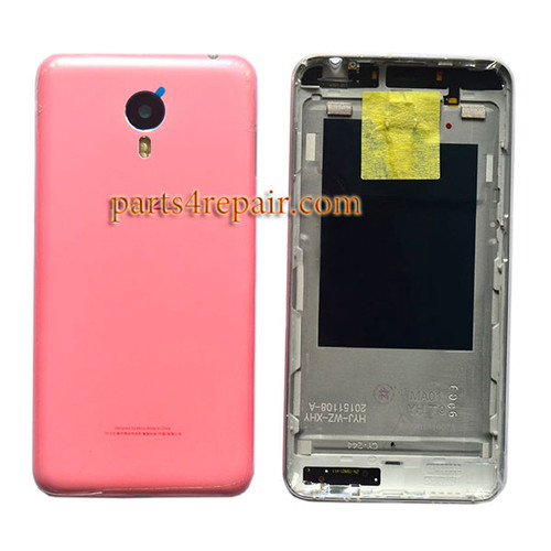 Back Housing Cover with Side Keys for Meizu M1 Metal (Meizu Blue Charm Metal) -Pink