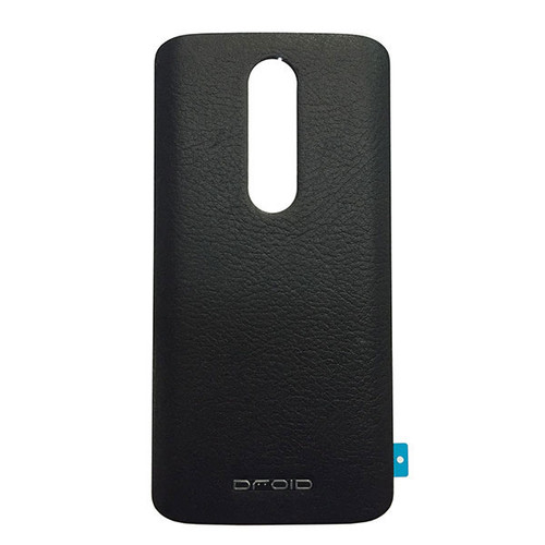 Back Leather Cover with Adhesive for Motorola Droid Turbo 2 -Black