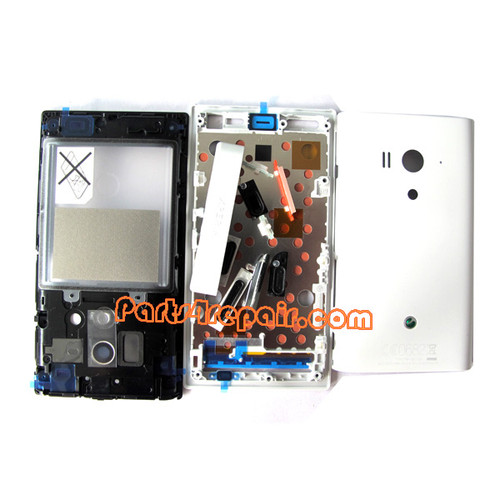 Sony Xperia acro S LT26W Full Housing Cover -White from www.parts4repair.com