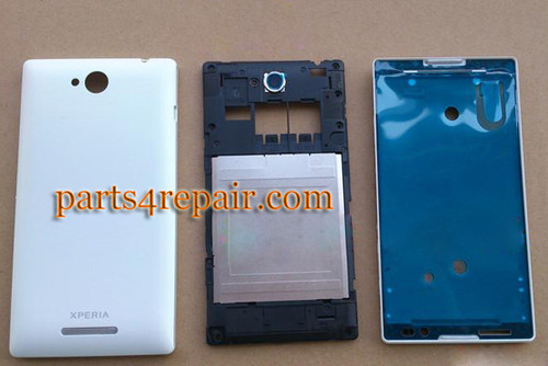 Full Body Housing Cover for Sony Xperia C S39H -White from www.parts4repair.com