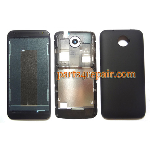 Full Housing Cover for HTC Desire 601 -Black from www.parts4repair.com
