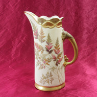 Antique Royal Worcester 1889 Victorian Aesthetic Movement Hand Painted Ewer #122
