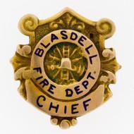 RARE Vintage Obsolute Blasdell, NY Volunteer Fire Dept. Chief 14K Gold Badge