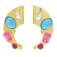 Vintage Large Bold Curved Rhinestone Earrings