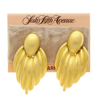 Vintage Saks Fifth Avenue Earrings Brushed Drop Dangle Clip On
