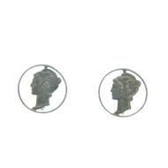 Vintage Sterling Silver Mercury Dime Screw back Earrings Original