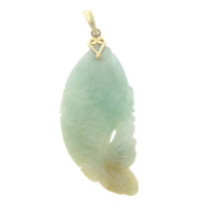 Vintage 14k Gold Jade Fish Necklace Pendant  Charm