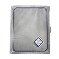 Vintage ART DECO 900 Silver CIGARETTE CASE Blue Enamel MONOGRAMMED GERMANY