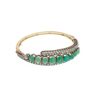 Fine Early Edwardian 18K Cabochon Emerald & Diamond Bangle Bracelet 11.35 carats Total Weight