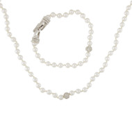 Vintage Swarovski Signed Rhinestone Faux Pearl Bracelet Necklace Lot