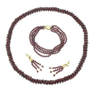 Garnet Bead Rope Necklace Vintage  14k GF Bracelet Earrings Lot  Set
