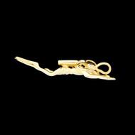 14k Gold Scuba Diver 3D Pendant 4.9 grams