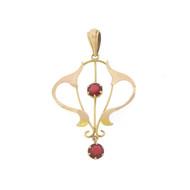Vtg Victorian Dangle Drop Garnet Art Nouveau 9k 9ct Gold Pendant For Necklace