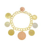 QVC Sterling Silver 925 Euro Coin Charm Bracelet