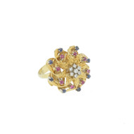 18k 750 Gold Diamond Ruby Sapphire Cocktail Ring Large Italy Size 7.5