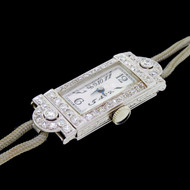 Art Deco Diamond and 18k 'White Gold Cocktail Watch by E. Huguenin