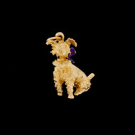 Vintage 14k Gold Dog Puppy Enamel Pendant For Necklace Terrier Poodle 6.1G