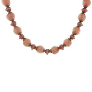 Beautiful Vintage Venitian Murano Glass Necklace Dusky Pink & Gold