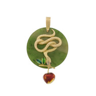 Vtg 18k 750 Gold Snake Jade Pendant For Necklace Garden Of Eden Signed Martine