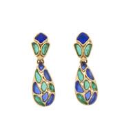 Vintage Trifari Drop Dangle  Earrings Modern Mosaics Blue Green Stained Glass